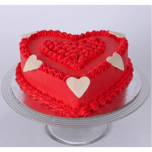 Floral Red Heart Cake