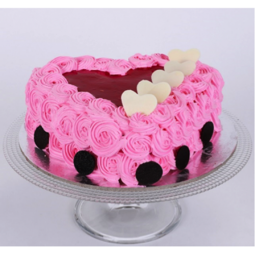 Pink Floral Heart Cake