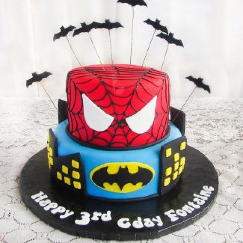 Spider n Superman Cake