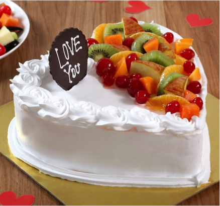 Heart Shaped Vanilla Fruit Cake
