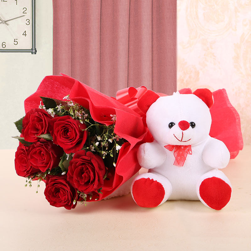 Flowers with Teddy Combos | Valentine Special - Flowers Galaxy