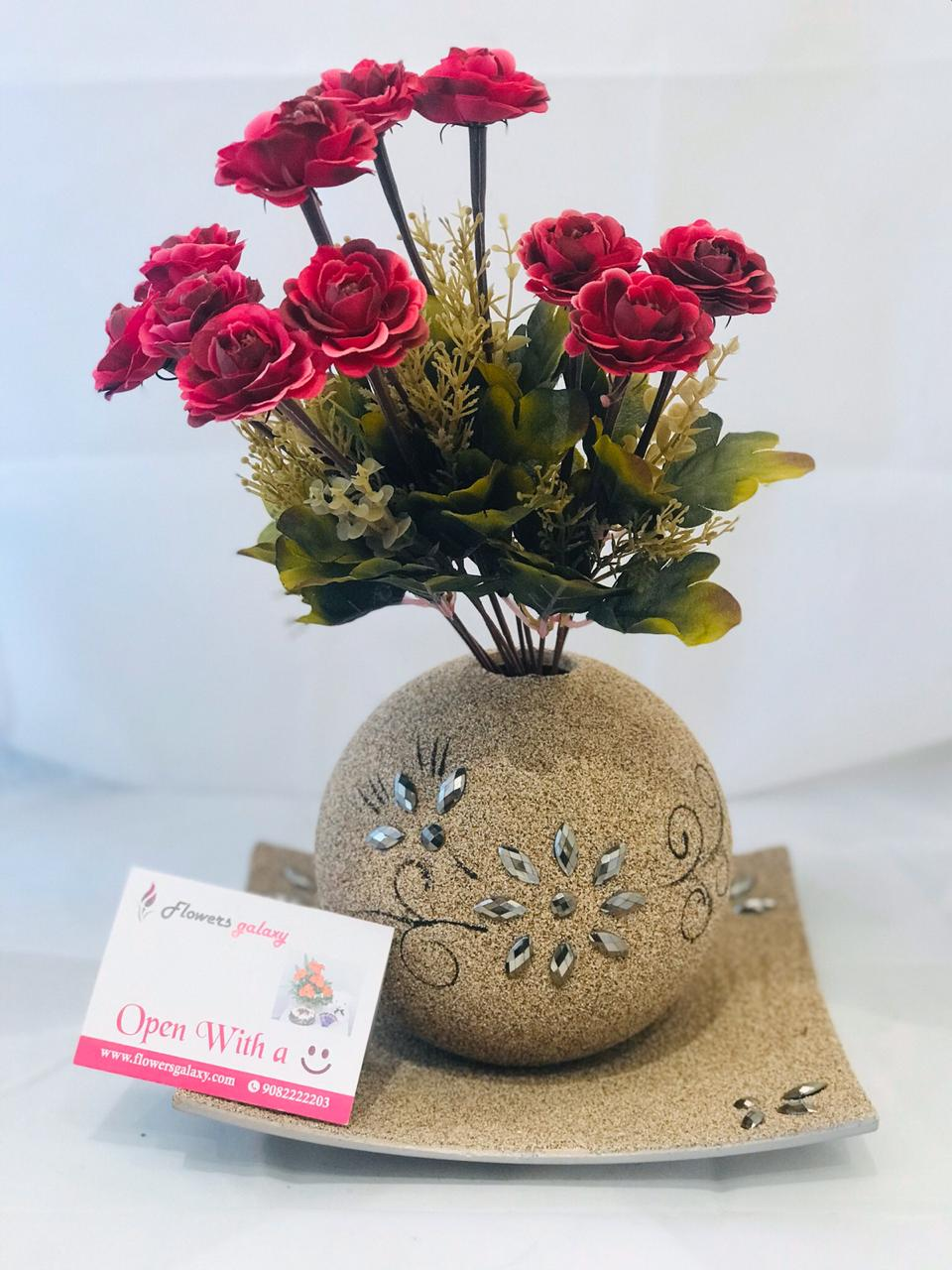 Artificial Red Roses with Beautiful Pot (2-3 Delivery Days)